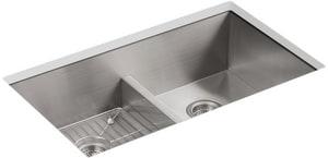 Kohler Vault™ 33 x 22 in. Smart Divide Top Mount/Under-Mount Double-Equal Bowl Stainless Steel Kitchen Sink K3838