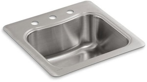 KOHLER Staccato™ 20 x 20 in. 3 Hole Stainless Steel Drop- Bar Sink K3363-3-NA