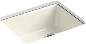 Kohler Riverby® 25 x 22 in. 5 Hole Cast Iron Single Bowl Undermount Kitchen Sink in Biscuit K5872-5UA1-96