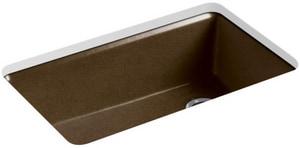 KOHLER Riverby® 33 x 22 in. 5 Hole Cast Iron Single Bowl Undermount Kitchen Sink in Black 'n Tan K5871-5UA3-KA