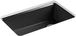 KOHLER Riverby® 33 x 22 in. 5 Hole Cast Iron Single Bowl Undermount Kitchen Sink in Black Black™ K5871-5UA3-7