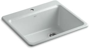 KOHLER Riverby® 25 x 22 in. 1 Hole Cast Iron Single Bowl Drop-in Kitchen Sink in Ice™ Grey K5872-1A1-95