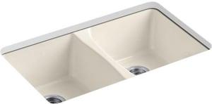 KOHLER Deerfield® 33 x 22 in. 5 Hole Cast Iron Double Bowl Undermount Kitchen Sink in Almond K5873-5U-47