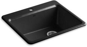 KOHLER Riverby® 25 x 22 in. 1 Hole Cast Iron Single Bowl Drop-in Kitchen Sink in Black Black™ K5872-1A1-7