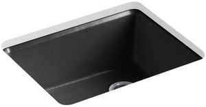 KOHLER Riverby® 25 x 22 in. 5 Hole Cast Iron Single Bowl Undermount Kitchen Sink in Black Black™ K5872-5UA1-7