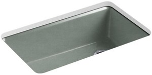 KOHLER Riverby® 33 x 22 in. 5 Hole Cast Iron Single Bowl Undermount Kitchen Sink in Basalt K5871-5UA3-FT