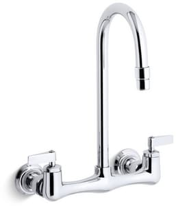 KOHLER Triton® Two Lever Handle Wall Mount Service Faucet in Polished Chrome K7320-4-CP