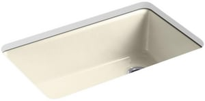 KOHLER Riverby® 33 x 22 in. 5 Hole Cast Iron Single Bowl Undermount Kitchen Sink in Cane Sugar™ K5871-5UA3-FD