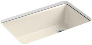 KOHLER Riverby® 33 x 22 in. 5 Hole Cast Iron Single Bowl Undermount Kitchen Sink in Almond K5871-5UA3-47