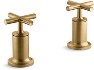Kohler Purist® Deckmount High Flow Bath Valve Trim with Double Cross Handle in Vibrant Moderne Brushed Gold KT14429-3-BGD