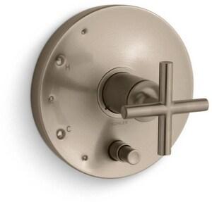 Kohler Purist® Pressure Balancing Valve Trim with Single Cross Handle in Vibrant Brushed Bronze KT14501-3-BV