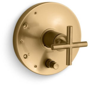Kohler Purist® Pressure Balancing Valve Trim with Single Cross Handle in Vibrant Moderne Brushed Gold KT14501-3-BGD