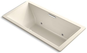Kohler Underscore® 36 in. 112.9 gal Acrylic Drop-In Rectangle Whirlpool Bathtub with Center Drain in Almond K1835-GVBCW-47