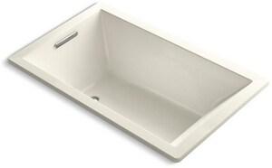 KOHLER Underscore® 60 x 36 in. Drop-In Bathtub with End Drain in Biscuit K1848-96