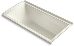 Kohler Underscore® 60 x 30 x 19 in Soaker Alcove Bathtub with Right Drain in Biscuit K1121-R-96