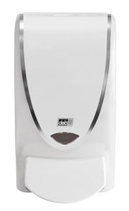 DEB USA Proline Curve 1 L Plastic Universal Dispenser in White and Polished Chrome DTWH1LDS