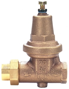 Wilkins Regulator Model 70XL 300 psi Cast Bronze, Buna-N and 300 Stainless Steel Copper Sweat Pressure Reducing Valve W70XLC