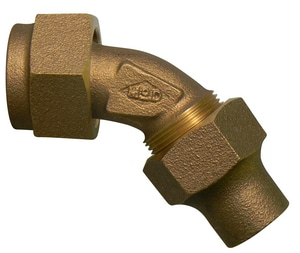 A.Y. McDonald 1-1/2 in. Female Copper Flare Swivel x Flared 45 Degree Bend with Single Valve M74750SJ