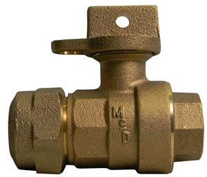 A.Y. McDonald 1 in. CTS Compression x FIP Brass Ball Valve Curb Stop M76102WQGFG
