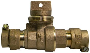 A.Y. McDonald 1 in. CTS Compression Brass Ball Curb Stop M7610422G