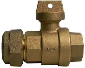 A.Y. McDonald 2 in. CTS Compression x FIP Brass Ball Valve Curb Stop M76102QK