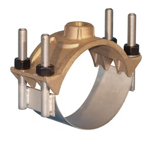Ford Meter Box 18 x 1-1/2 in. IP Brass, Stainless Steel and Rubber Double Strap Saddle for C900 PVC Pipe F202BS1950IP6