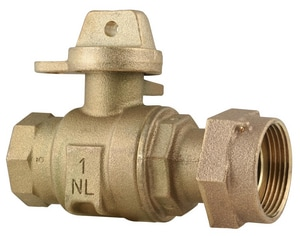 Ford Meter Box 1 in. FIP x Meter Swivel Straight Curb Stop Ball Valve with Lock Wing FB13444WNL