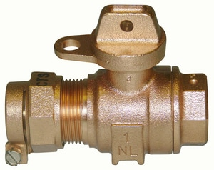 Ford Meter Box 1 in. CTS Compression x FIP Water Service Brass Ball Valve Curb Stop FB41444W