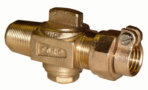 Ford Meter Box 5/8 in. CC Taper Threaded x Pack Joint Brass Corporation Stop FF100023NL
