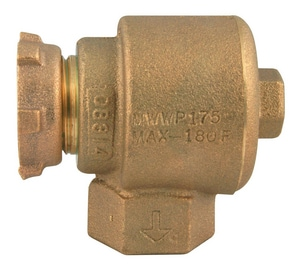 Ford Meter Box 1/2 x 3/4 in. Meter Swivel x FIP Brass Angle Cascading Dual Check Valve FHHA91313NL