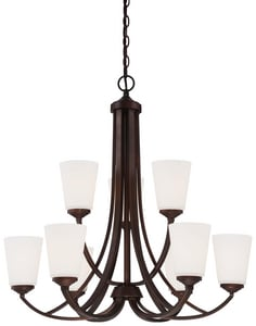 Minka-Lavery Overland Park 60W9-Light Chandelier with Etched White Glass in Vintage Bronze M4969284