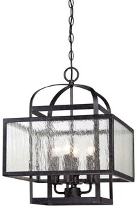 Minka-Lavery Camden Square 60W4-Light Mini Chandelier with Clear Seeded Glass in Aged Charcoal M4875283