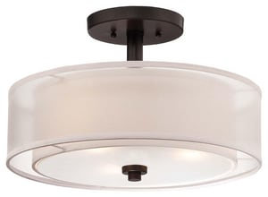 Minka 10 in. 1-Light Semi-Flushmount Ceiling Fixture in Smoked Iron M4107172