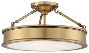 Minka Harbour Point 9-3/4 in. 3-Light Semi-Flushmount Ceiling Fixture in Liberty Gold M4177249