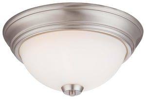Minka Overland Park 13 in. 60W 2-Light Flushmount in Brushed Nickel with Etched Opal Glass Shade M496084