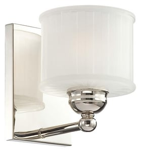 Minka 1730 Series 7-1/2 in. 100W 1-Light Bath Light in Polished Nickel with Etched Glass Shade M67311613