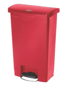 Rubbermaid Slim Jim® Step-On 18 in. 13 gal Resin Front Step Container in Red R1883566