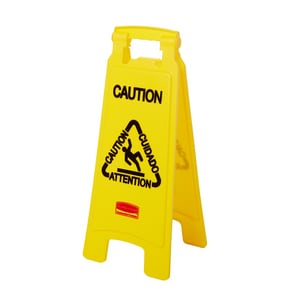 Rubbermaid 26 in. Sided Floor Caution Sign in Yellow RFG611200YEL