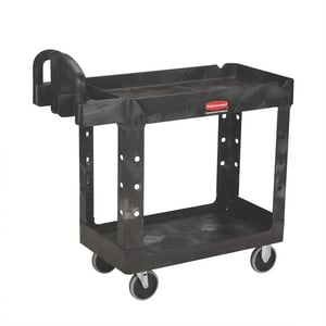 Rubbermaid Heavy Duty 2 Shelf Utility Cart Black RFG452088BLA