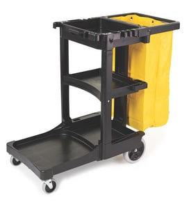 Rubbermaid Cleaning Cart Trolley in Black RFG617388BLA at Pollardwater