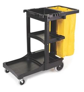 Rubbermaid Cleaning Cart Trolley in Black RFG617388BLA