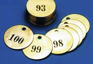 Accuform Signs 1-1/2 in. Numbered Brass Tags 25 Pack (151-175) ATDN113 at Pollardwater