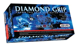 Microflex Diamond Grip® L Size Disposable Powder-Free Rubber and Latex Examination Gloves MMF300