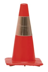 Work Area Protection Corporation 28 in. Standard Traffic Cone with Reflective Collars 10 lb W28PVCH6CC4CCVSB at Pollardwater