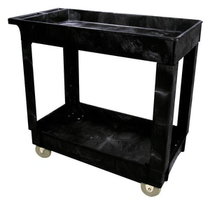Rubbermaid 2-Shelf Utility Cart with Caster in Black RFG9T6700BLA at Pollardwater