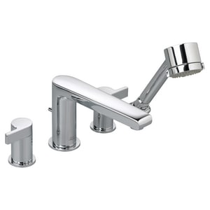 American Standard Studio® 2.5 gpm Widespread Tub Filler with Double Lever Handle with Shower in Polished Chrome A2590901002