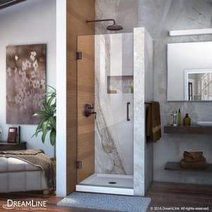 DreamLine Unidoor 26 in. Frameless Hinged Shower Door with Clear Glass in Oil Rubbed Bronze DSHDR20267210F06
