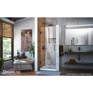 DreamLine Unidoor 72 in. Frameless Hinged Shower Door with Clear Glass in Oil Rubbed Bronze DSHDR20247210F06
