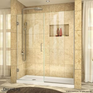 DreamLine Unidoor Plus 59 in. Frameless Hinged Shower Door with Clear Tempered Glass in Brushed Nickel DSHDR24585721004