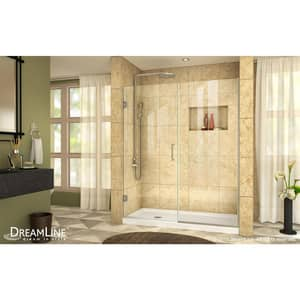 DreamLine Unidoor Plus 46-1/2 in. Frameless Hinged Shower Door with Clear Tempered Glass in Brushed Nickel DSHDR24460721004